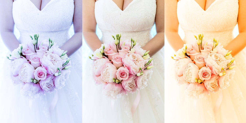 Correction de la balance des blancs photo de mariage
