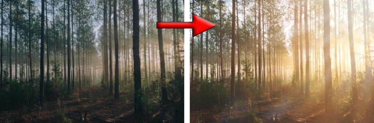 Lens flare effet couché de soleil photoshop